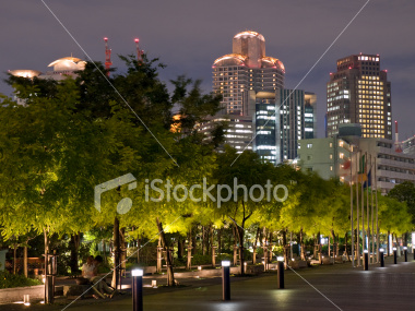 Osaka night skyline on Shutterstock.com