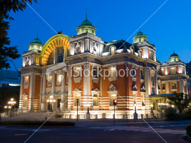 Osaka Central Public Hall illuminated at night on Dreamstime.com