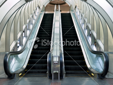 Escalator with an arched roof on Shutterstock.com